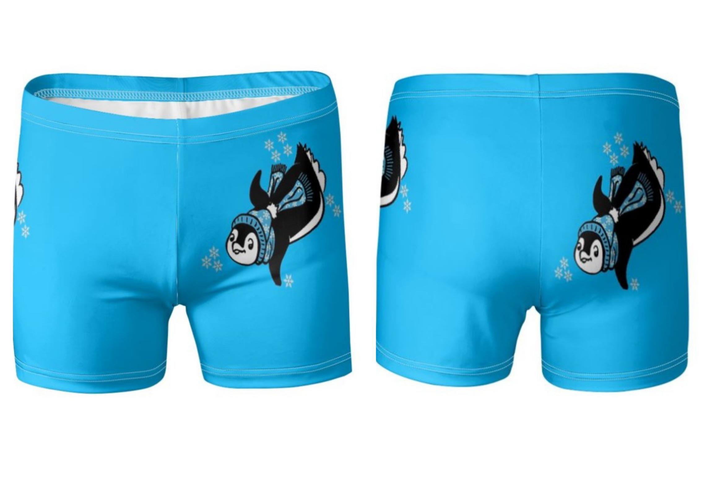 Penguin swim trunks canva